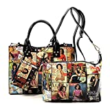 Glossy magazine cover collage crossbody bag purses Michelle Obama mini handbag (MULTI/BLACK)