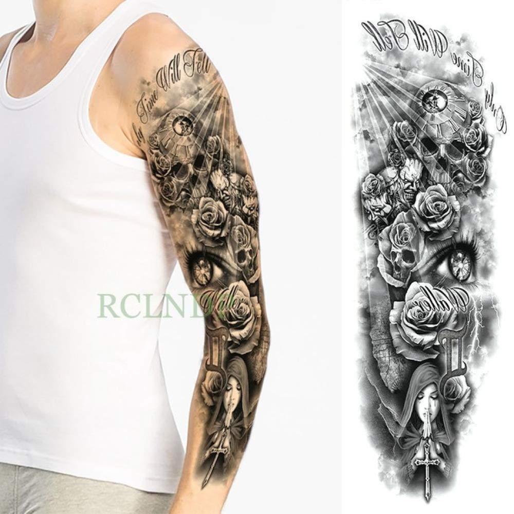 5pcs Impermeable Etiqueta engomada del Tatuaje Cruz del cráneo del ...