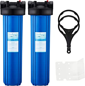 "Geekpure Whole House Big Blue Water Filter Housing 1-Inch Outlet/Inlet with Wrench + Bracket -4.5"" x 20"" -Blue Color-Pack of 2"
