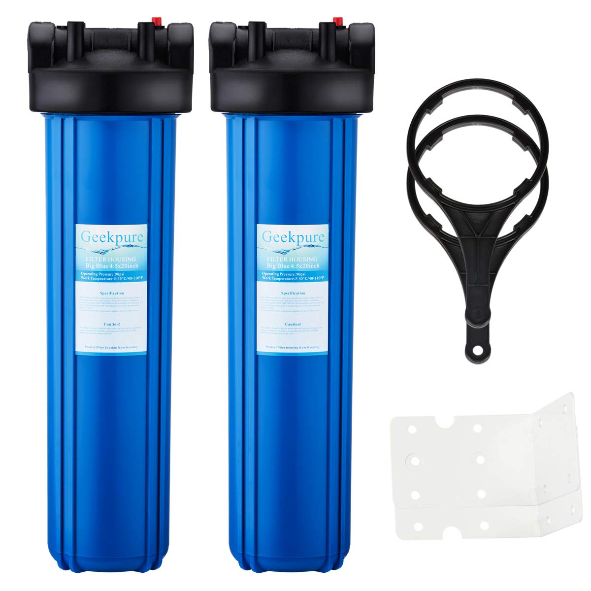 Geekpure Whole House Big Blue Water Filter Housing 1-Inch Outlet/Inlet with Wrench + Bracket -4.5'' x 20'' -Blue Color-Pack of 2 by Geekpure