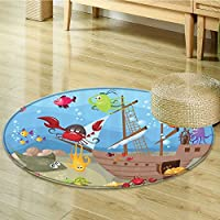 Kids Circle carpet Baby Nursery Decor by Nalahomeqq Ocean Octopus Treasure Sunken Ship Pirate Sail Boat Ahoy Fabric Circle carpet for Boys Room Blue Red Yellow Black Purple Green -Diameter 120cm(47)