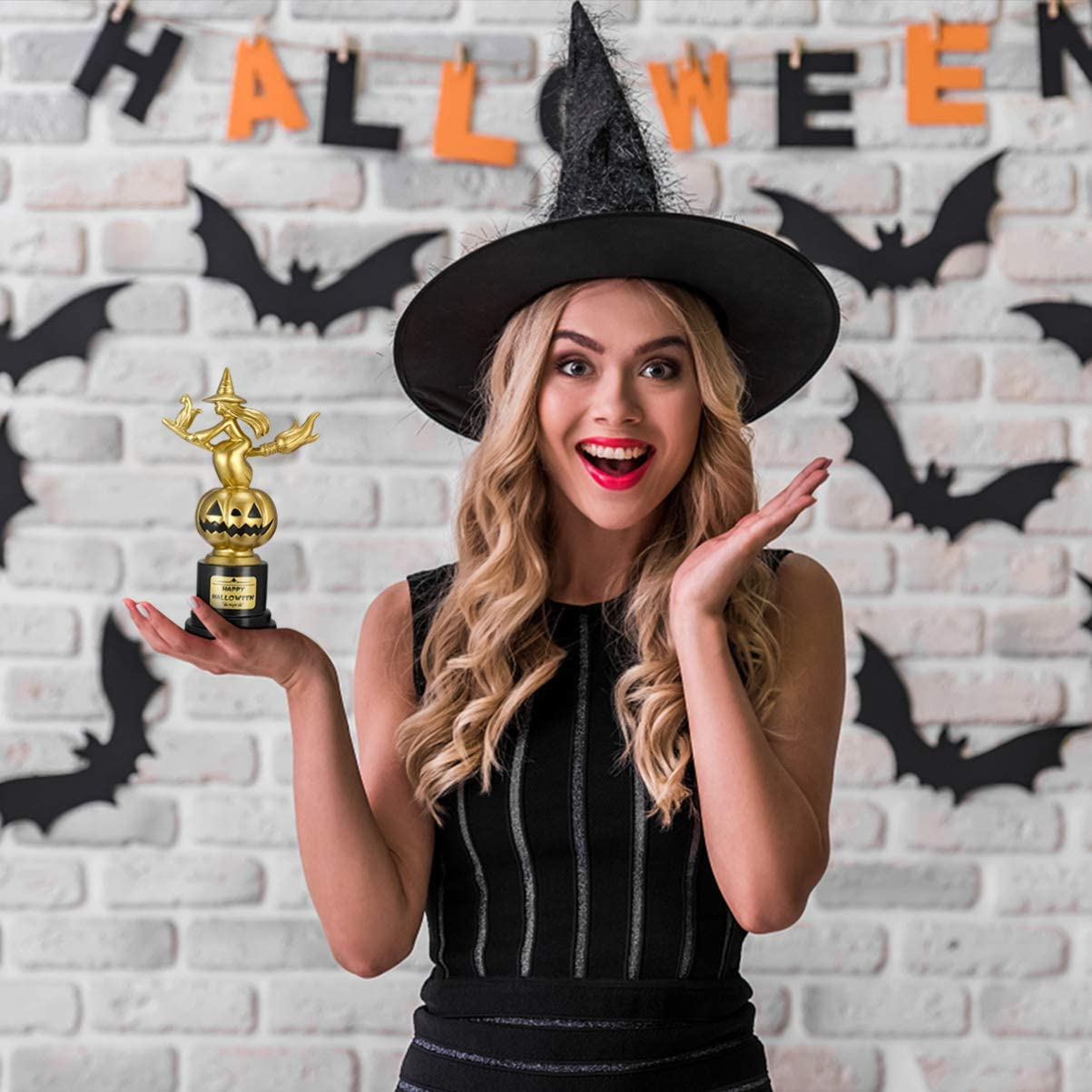 TOYANDONA Happy Halloween Witch Pumpkin Trophy Halloween Game Sport Trophy Halloween Party Witch Award Trophy for Kids Adults
