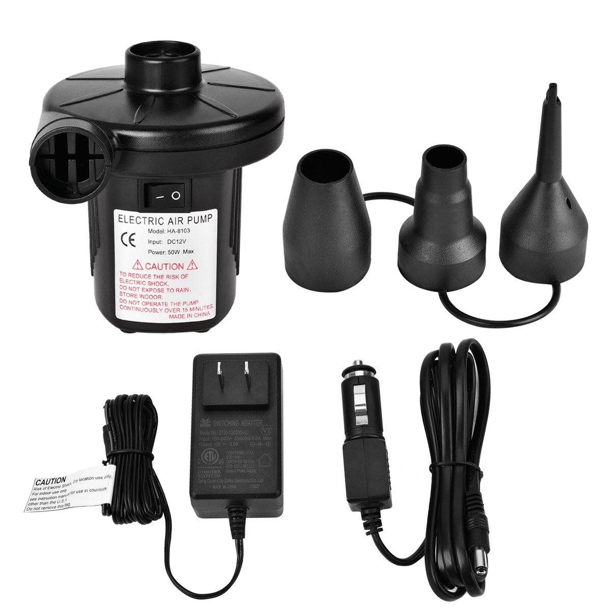 CUGLB Electric Portable Air Pump 110V AC/12V DC Quick-Fill Air Pump for Inflatables Air Mattress Raft Bed Boat Pool Toy