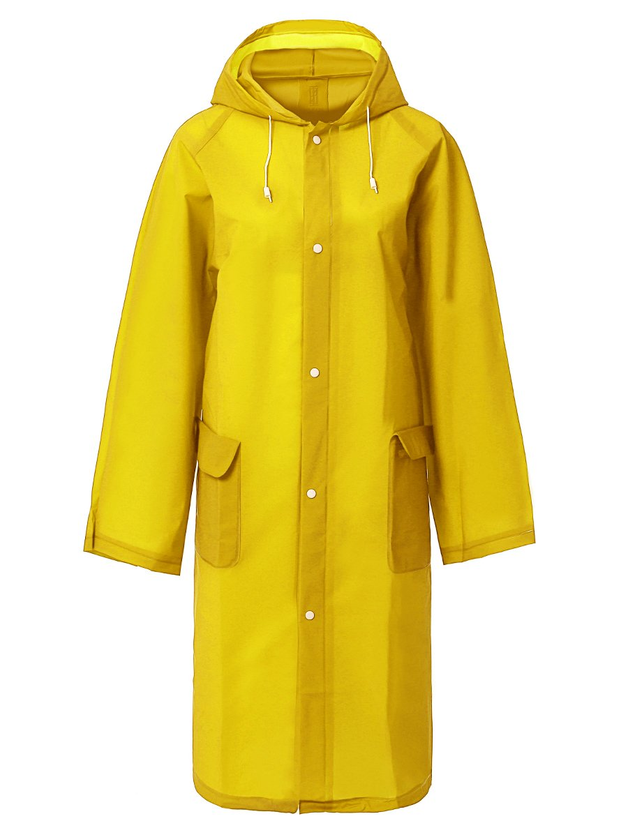 LINENLUX Waterproof Button Rain Poncho Jacket with Pockets Yellow Medium