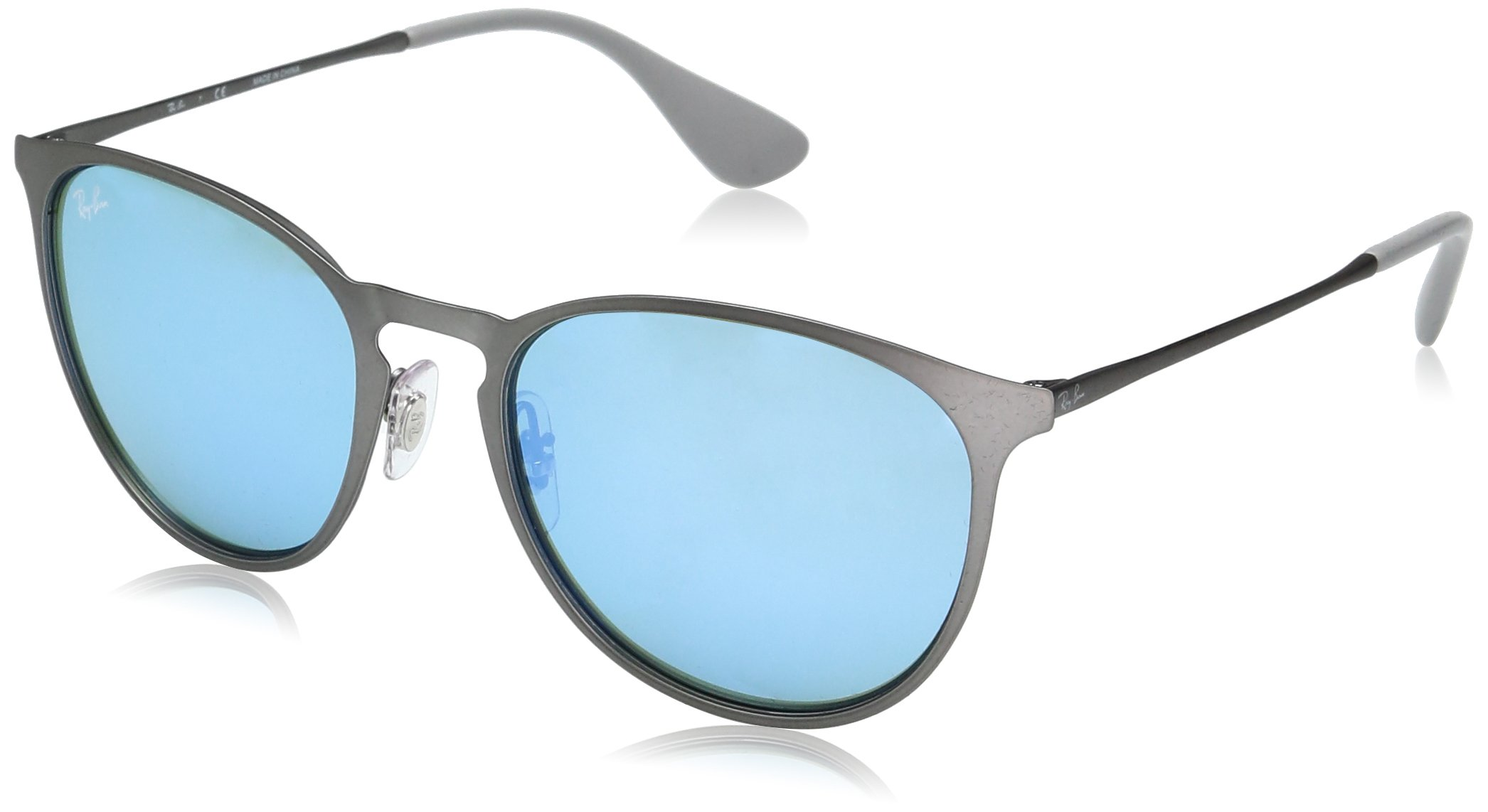 Ray-Ban Erika Metal RB3539 9015B4 Non-Polarized Sunglasses, Rubber Gunmetal/Green Light Flash Blue, 54 mm by Ray-Ban