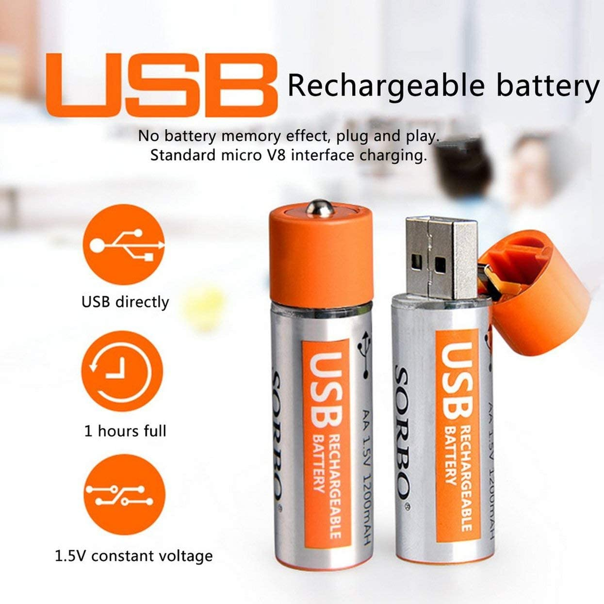 Detectorcatty 2PCS SORBO 1.5V 1200mAh USB Rechargeable 1 Hour Quick Charging AA Li-po Battery Super Power with Power Locking Portable
