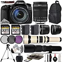 Canon EOS 80D Digital SLR Camera + Canon 18-135mm STM Lens + 650-1300mm Zoom Lens 1 + 500mm Telephoto Lens + 0.43X Wide Angle Lens + 2.2x Telephoto Lens 64GB Storage - International Version