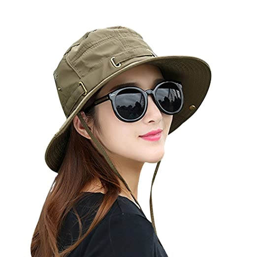 2bf2d4dd860 Kafeimali Summer Sun Men Women Wide Brim UV Beach Caps Sports fishing Hats  (Army