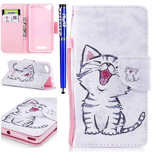 EUWLY Leather Wallet Case for Wiko Lenny 3 Max,Ultra Thin Colorful Butterfly Flower Tree Animal Embossed Pu Leather Case Cover with Hand Strap for Wiko Lenny 3 Max + 1 x Stylus Pen - Cat with Red Mout Cat with Red Mouth