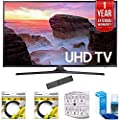 """Samsung 65"""" 4K Ultra HD Smart LED TV 2017 Model (UN65MU6300FXZA) with 2x 6ft High Speed HDMI Cable, Stanley 6-Outlet Surge Adapter, Screen Cleaner for LED TVs & 1 Year Extended Warranty"""