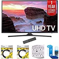 Samsung 65 4K Ultra HD Smart LED TV 2017 Model (UN65MU6300FXZA) with 2x 6ft High Speed HDMI Cable, Stanley 6-Outlet Surge Adapter, Screen Cleaner for LED TVs & 1 Year Extended Warranty