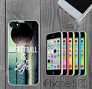 Basketball Baller Life Quote Custom made Case/Cover/skin FOR iphone 5s - White - Rubber Case ( Ship From CA)
