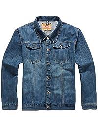 Sawadikaa Men's Vintage Long Sleeve Classic Denim Jean Jacket Trucker Jacket