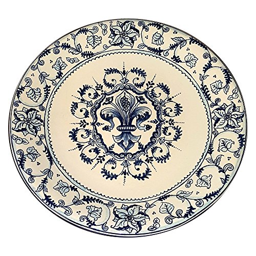 CERAMICHE D'ARTE PARRINI - Italian Ceramic Art Pottery Big Plate Flat Centerpiece Bowl Decorated Lily Tuscan Made in ITALY