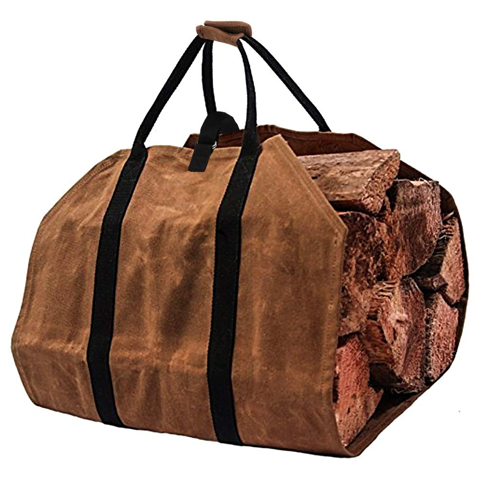 Large Canvas Log Tote Bag Carrier Indoor40 x19 Fireplace Firewood Tote