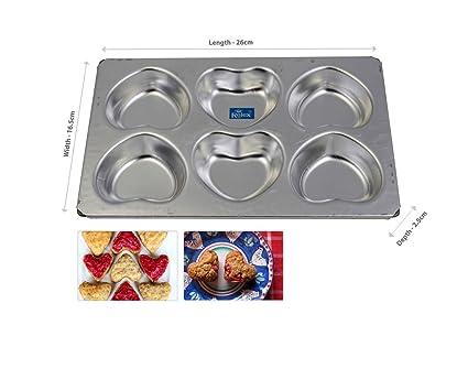 Rolex Aluminium Muffin Bakeware Tray Little Heart 6 Cavity