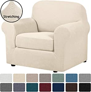 H.VERSAILTEX 2 Piece Couch Cover Stretch Stylish Chair Cover Furniture Cover/Protector Featuring Jacquard Textured Twill Fabric, High Spandex Slipcover Machine Washable(Chair, Natural)