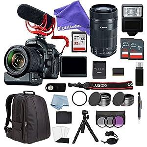 New Canon EOS Rebel 80D Digital SLR Camera Video Creator Kit W/ EF-S 18-135mm IS USM & 55-250 IS STM Lens + DSLR Professional Advanced Accessory Bundle - DigitalAndMore EXCLUSIVE ALL YOU NEED Bundle