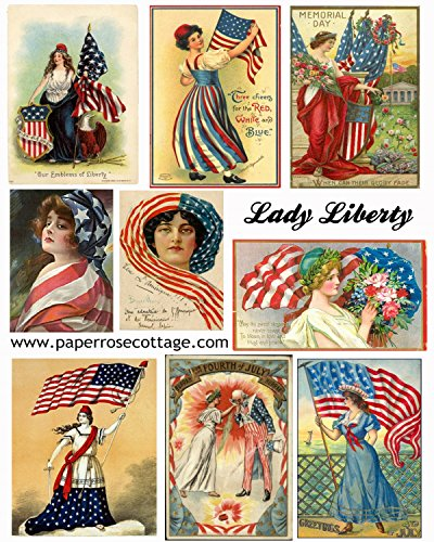 4th of July Vintage Lady Liberty Patriotic Images Collage Sheet Collection Print for Scrapbooking, Card Making, Crafts (4th Scrapbooking July Of)