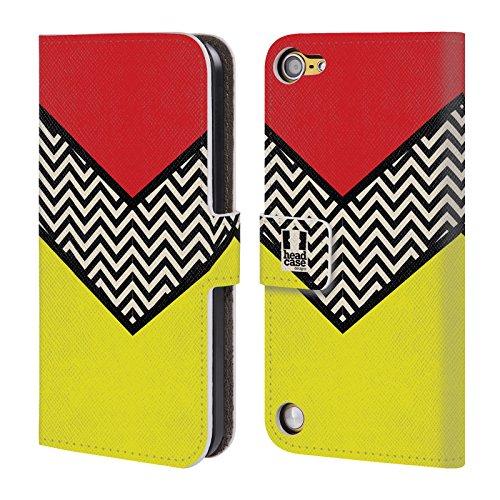 Head Case Designs Rosso Chevron A Blocchi Di Colore Cover a portafoglio in pelle per iPod Touch 5th Gen / 6th Gen