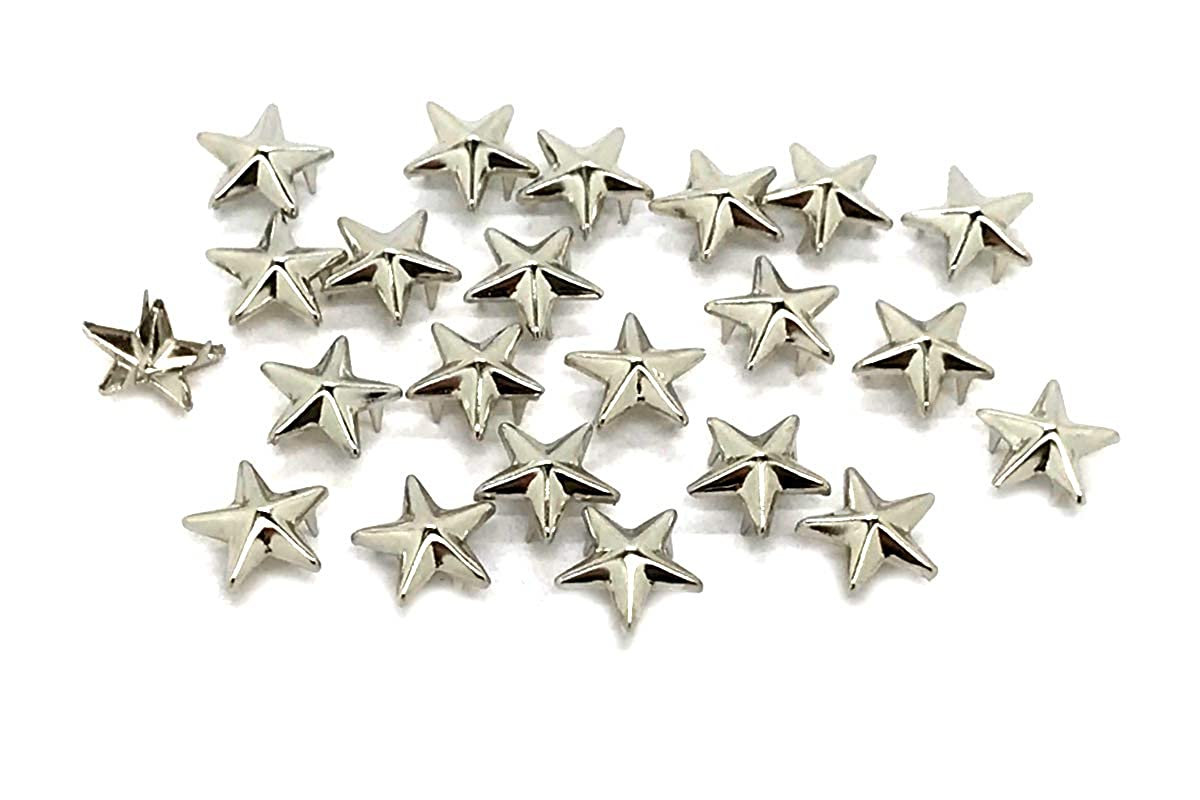 100 x EIMASS® Silver 11mm Star Claw Studs, Rivets with Spikes Prongs to Embellish Shoes, Bags, Leather Items, Costumes, Belts, Crafts DIY