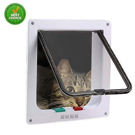Cat Door Flap 4 Ways Locking, Pet Door Kit For Cats And Small Dogs Pet