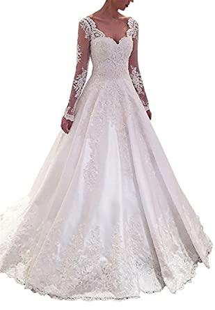 3bb1cbc5951 Homdor Long Sleeves Bridal Gowns Lace Appliques Illusion Tulle Wedding  Dresses at Amazon Women s Clothing store