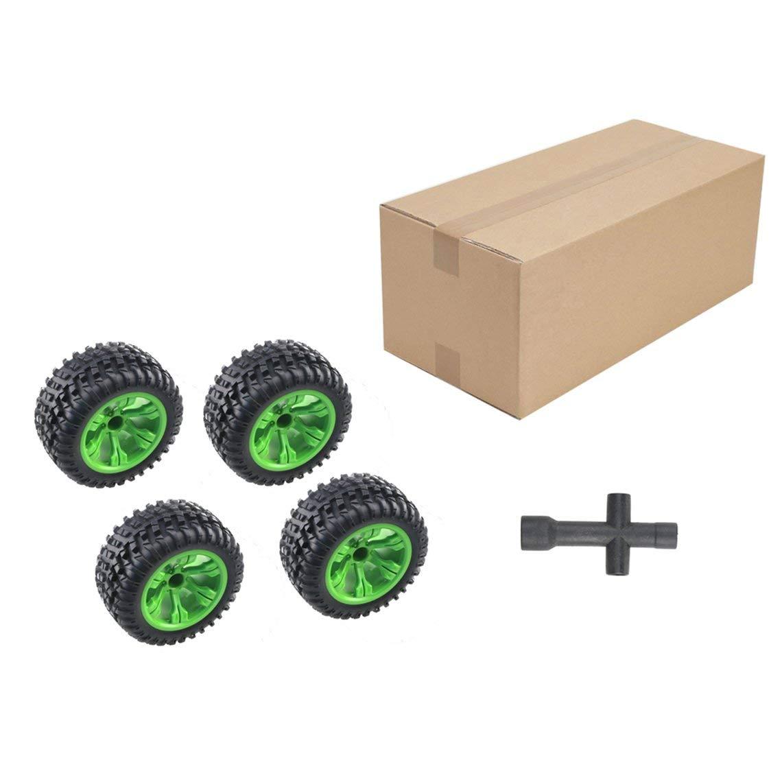 Momorain 4 Stücke Allgemeine 110mm RC Reifen für JJRC Q39 Q40 Q46 WLtoys L959 12404 FY-03 FY-04 1/12 Offroad RC Auto LKW Teile Rad Reifen (Farbe: schwarz & grün)