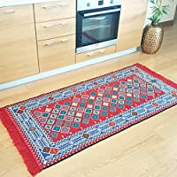 Secret Sea Collection - Modern Traditional Area Rugs, (Washable), Natural Dye Colors, Perfect for Kitchen, Hallway, Bathroom, Corridor, Living Room (2.6 x 4.4 Feet, Red-Blue)