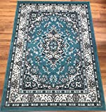 Antep Rugs Kashan King Collection Himalayas Oriental Polypropylene Indoor Area Rug (Blue/Cream, 8′ x 10′)