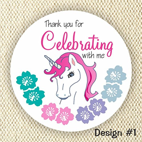 Unicorn Party Favor Stickers – Unicorn Birthday Party Stickers – Thank you stickers