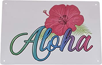 "DS Haiku Hawaiian Themed Novelty Metal Arrow Sign 17/"" x 5/"" Wall Decor"