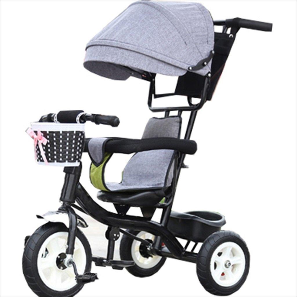 子供の屋内屋外の小さな三輪車自転車の男の子の自転車6ヶ月6歳の赤ちゃんの三輪車のトロリー天井、ゴムホイール(グレー、ブラック) B07DVCKWR8