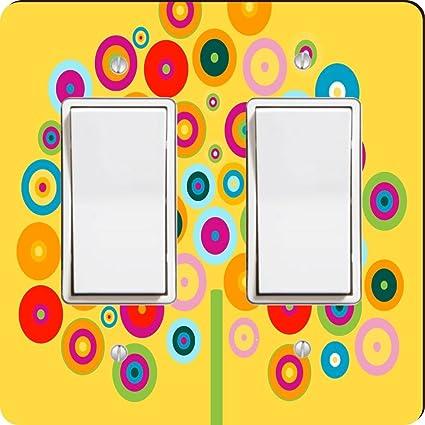 Rikki Knight 823 Double Rocker Color Wheel Tree On Yellow Design