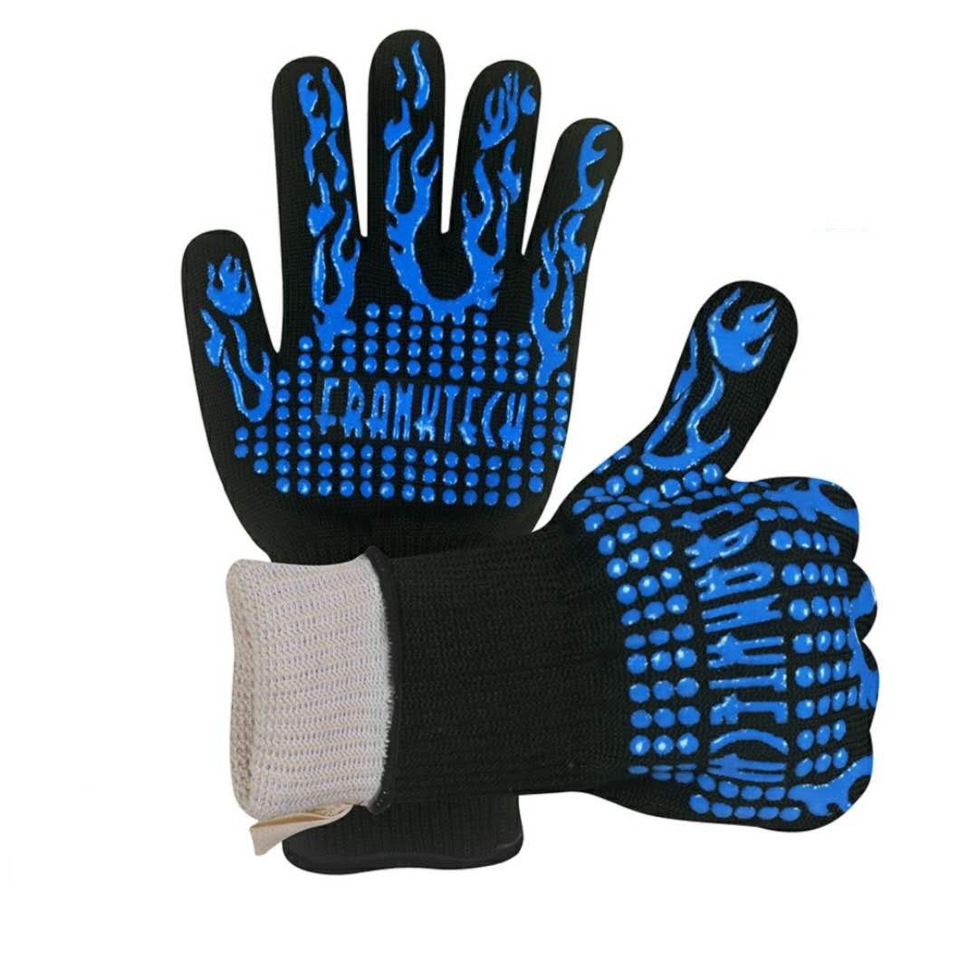 Franktech BBQ Gloves Oven Mitt,Hand Protection from Grilling,Barbeque,Fires,Microwave Oven and Other Hot Work in Kitchen,Outdoor Camping and Garden Party,Heat and Flame Resistant up to 932°F (Blue) by Franktech (Image #1)