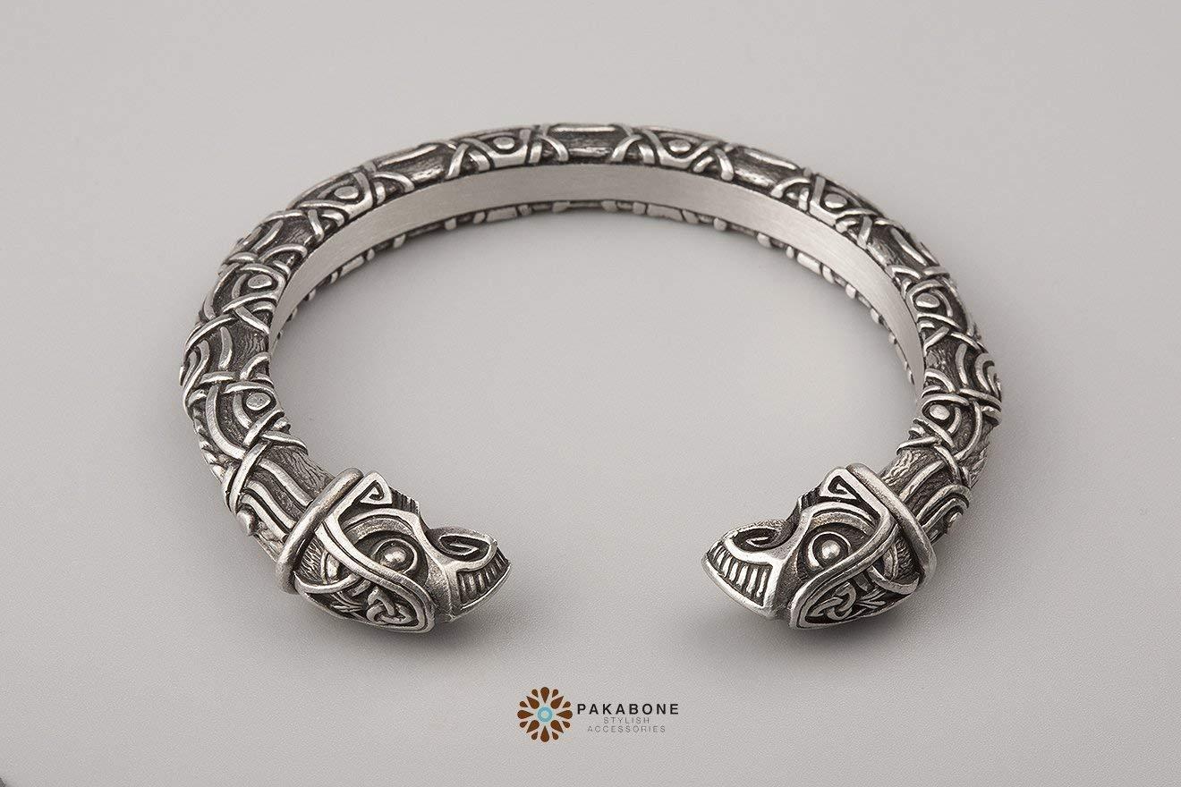 Viking Bracelet - Nordic Metal Arm Ring with Odins Ravens