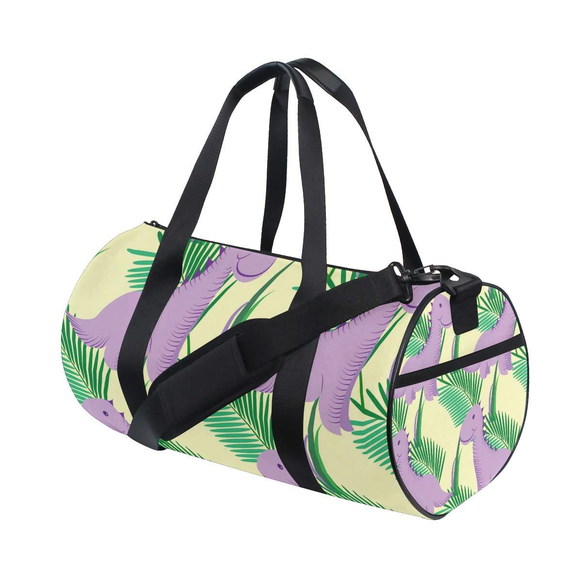 WIHVE Gym Duffel Bag Cute Purple Dinosaurs Tropical Leaves Sports Lightweight Canvas Travel Luggage Bag