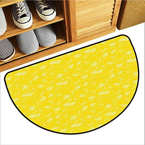 Axbkl Outdoor Doormat Yellow Juicy Lemons Citrus Fresh Slices with Leaves and Dots Health Vitamins Food Pattern Non-Slip Backing W24 xL16 Yellow White ()