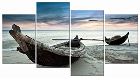 Pyradecor Seascape Canvas Prints Wall Art Blue Fishing Boat on Sea Beach Picture Paintings for Living Room Bedroom Office Decorations 4 Piece Modern Stretched and Framed Giclee Landscape Ship Artwork