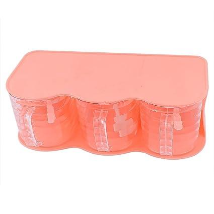 DealMux Las células de plástico 3 Especias condimento envase dispensador Caso Rosa del Coral
