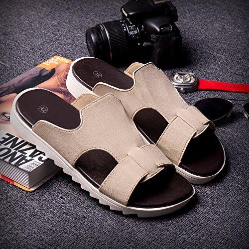 Xing Lin Herren Sandalen Sommer Trend Flip Flops Sandalen Hausschuhe Hausschuhe Mode Hausschuhe Neue Hausschuhe Sandalen Herrenschuhe 42081 Beige
