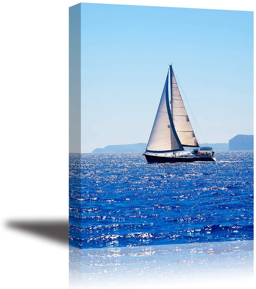 """Canvas Wall Art for Bedroom, PIY Blue Sea Sailboat Picture, Modern Prints Artwork Decor (1"""" Thick, Waterproof, Bracket Mounted Ready to Hang)"""