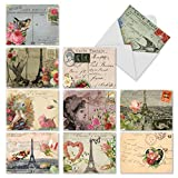 M2355OCB Parisian Cards: 10 Assorted Blank All-Occasion Note Cards Featuring Vintage Collage Postcards with Images that Evoke Paris and the French Countryside, w/White Envelopes.