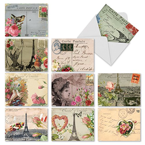 Assortment of 10 Blank Greeting Cards with Vintage Parisian Collage Design - 'Parisian Postcard' Stationery Set of Parisian-Themed Note Cards with Envelopes M2355OCBsl (Cards Valentines Classic Day)