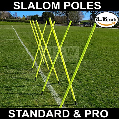 6FT Slalom Poles [8qty/16qty]BEST QUALITY AVAILABLE 25m or 34mm Spring Loaded  Soccer/Football/Sports Agility Training  24HR Ship [Net World Sports] (6ft Spring Loaded Slalom Poles x 16)