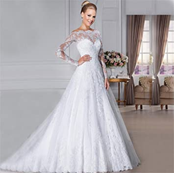 HAPPYMOOD Vestido de novia Vestido de novia Largo Mujer Vestido elegante Material suave Vestido de novia