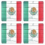 Luxlady Square Coasters Non-Slip Natural Rubber Desk Coasters IMAGE ID: 21163610 Abstract Mexican flag on the wooden board