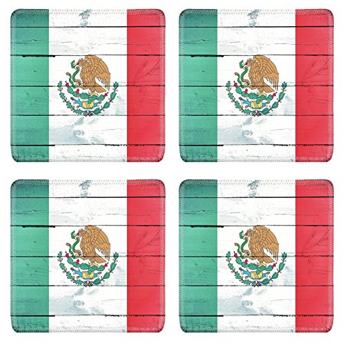 Luxlady Square Coasters Non-Slip Natural Rubber Desk Coasters IMAGE ID: 21163610 Abstract Mexican flag on the wooden board by Luxlady