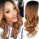 AISI HAIR Long Brown Ombre Wavy Wig Two Tone Curly Big Wavy Wig Heat Resistant Synthetic Honey Blonde Wavy Hair for Women