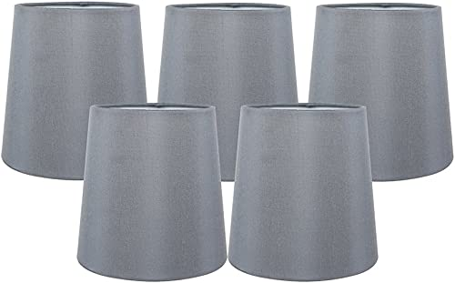 Meriville Set of 5 Gray Faux Silk Clip On Chandelier Lamp Shades, 4-inch by 5-inch by 5-inch
